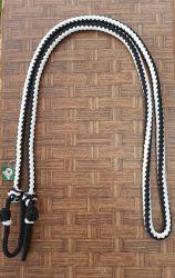 Traia Mangalarga Haddad - Rédea Fechada de cordinha - Preto trançado com Branco