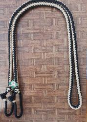 Traia Mangalarga Haddad - Rédea Fechada de cordinha - Preto trançado com Champanhe