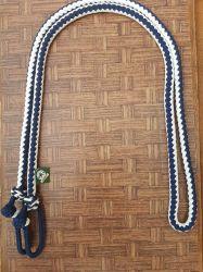 Traia Mangalarga Haddad - Rédea Fechada de cordinha - Azul trançado com Branco