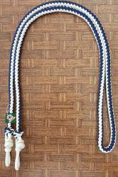 Traia Mangalarga Haddad - Rédea Fechada de cordinha - Branco trançado com Azul
