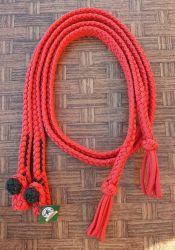 Traia Mangalarga Haddad - Rédea Aberta de cordinha - Vermelho com preto