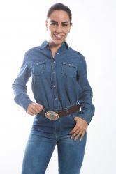 Camisa jeans Feminina - Azul escura