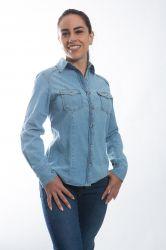 Camisa jeans Feminina - Azul claro