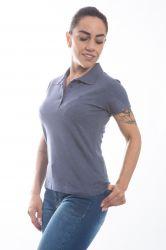Camisa polo Feminina - Cinza azulado